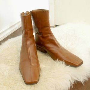 Enzo Angiolini Shoes - Vintage Tan Leather Square Toe 70s Vibes Booties
